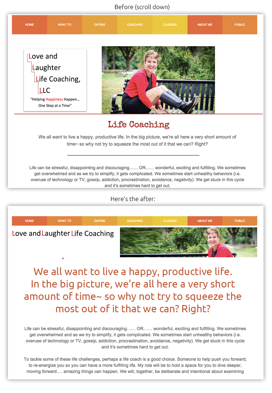 coach website before and after