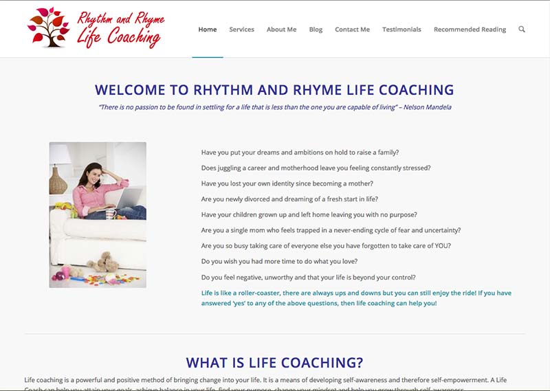 sharon's coach website for moms - before