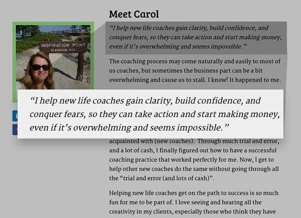 about me page for carol