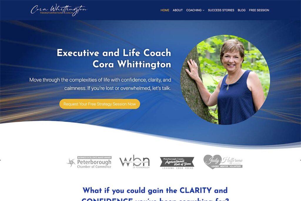 website design for transformation coach cora