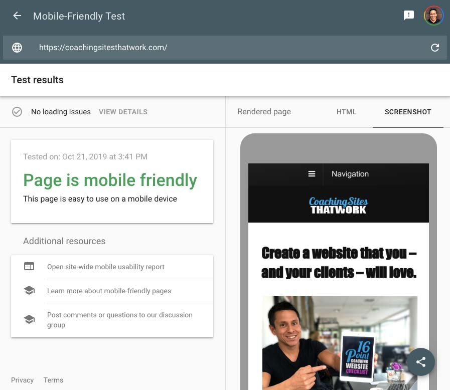 my site on Google's Mobile-Friendly Test