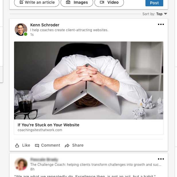 linkedin profile picture in news feed is tiny!