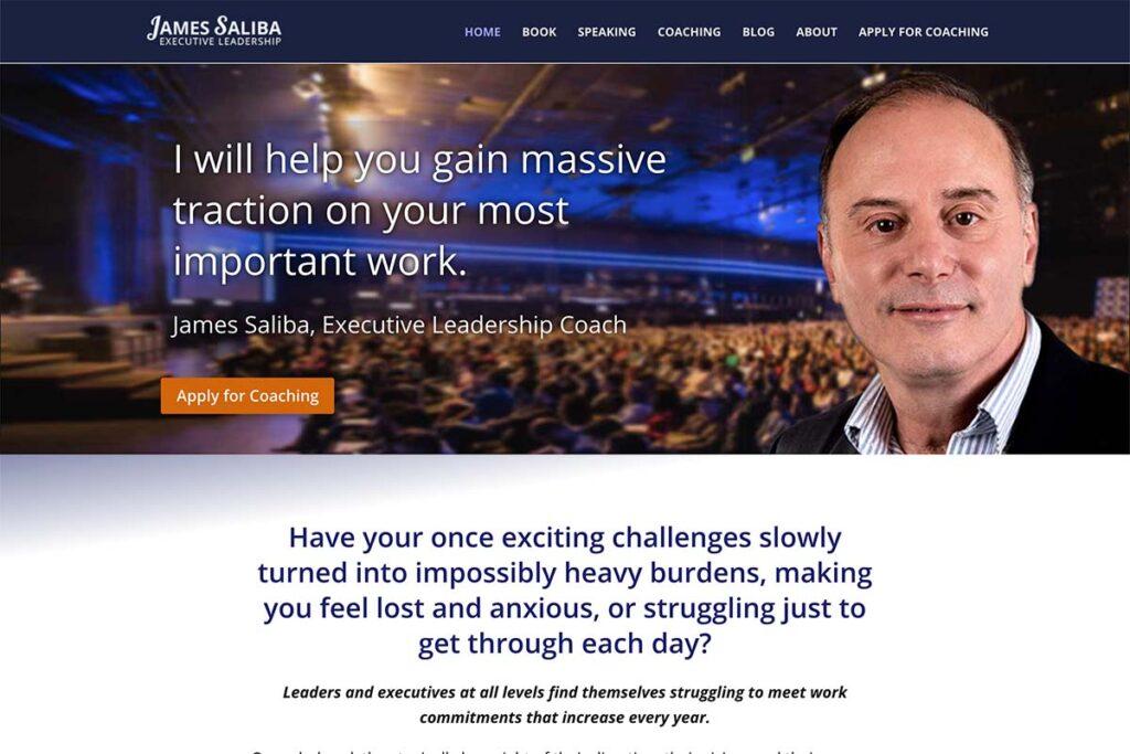 website design for executive leadership coach james
