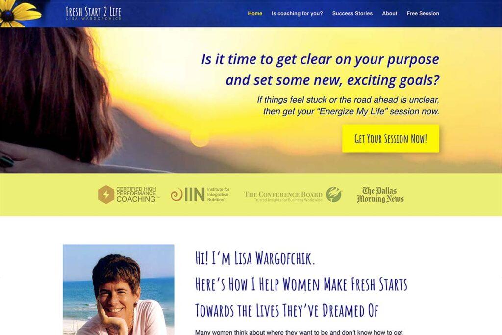 website design for life coach lisa