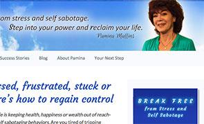 website design for life coach pamina