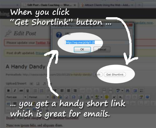 Shortlink button in WordPress