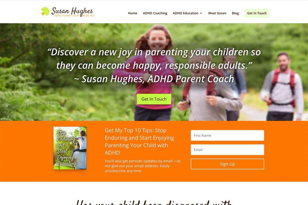website design for adhd coach susan